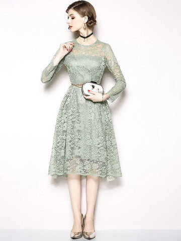 A-line Daily Elegant Guipure lace Midi Dress