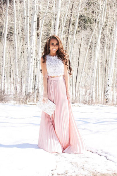 A| Chicloth Women Blush Pleated Full Length Maxi Skirt-New Prom Dress 1803-Chicloth