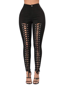 Women Lace Up Hollow Out High Waist Hole Ripped Skinny Pencil Pants