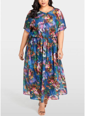B| Chicloth Women Plus Size Chiffon Dress Floral Print Ruffle Elegant Slim Long Loose Dress-polyester,anklelength,vneck,plussizedresses-Chicloth