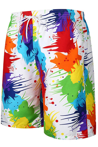 A| Chicloth Colorful Print Mens Loose Beach Board Swim Shorts