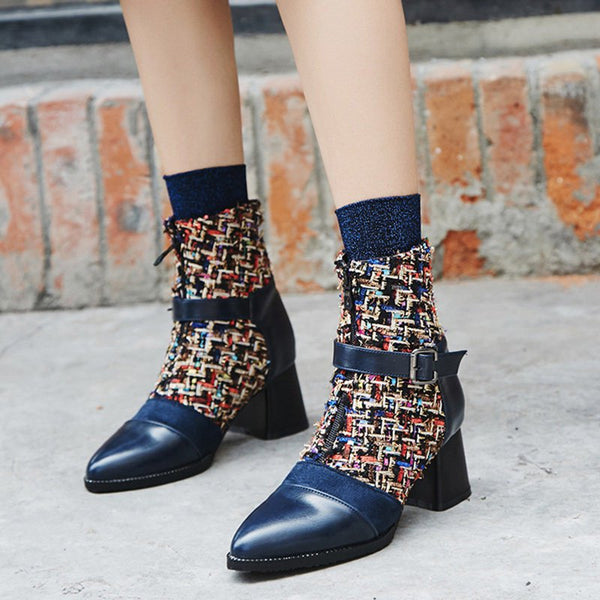 Daily Zipper Pointed Toe Buckle Chunky Heel Boots