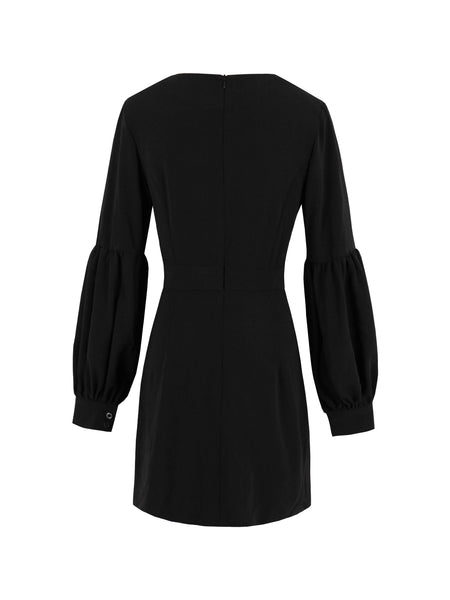 Chicloth Black Puff Sleeve V-Neck Dress-Dress-Chicloth
