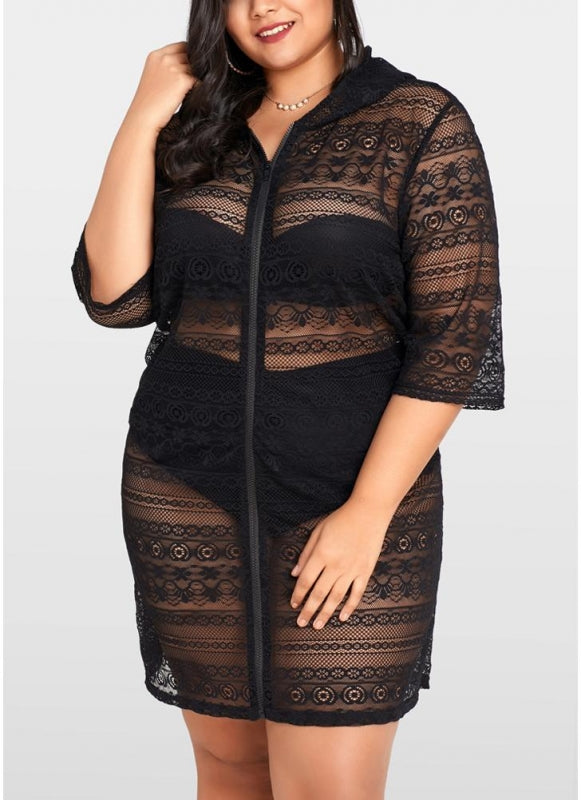 B| Chicloth Women Plus Size Cover Up Net See Through Bikini Beach Dress Wear-nylon,polyester,plussizeswimsuit-Chicloth