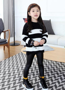 Kids Girls Stretchy PU Leather Elastic Waist Skinny Pants Trousers Black