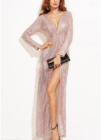 B| Chicloth Women Sexy Sequined Sparkling Deep V Twist Knotted High Split Long Sleeve Maxi Gown One-Piece Dress