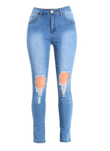 Denim High Waist Zipper Fly Skinny Frayed Hole Ripped Jeans
