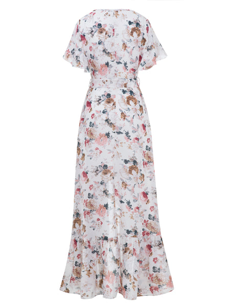 Chicloth Beige V-Neck Flower Print Falbala Patchwork Women's Maxi Dress