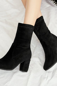 A| Chunky Heel Working Suede Square Boots-Boots-Chicloth