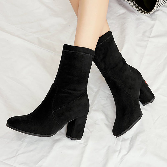 A| Chunky Heel Working Suede Square Boots