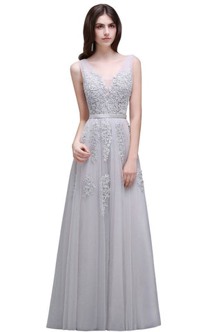 A| Chicloth A-line Floor-length Tulle Bridesmaid Dress with Appliques-Evening Dresses-Chicloth