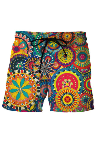 A| Chicloth Geometric Pattern Mens Printed Beach Board Swim Shorts-Chicloth