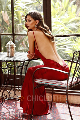 AA| Chicloth Backless Burgundy  V-plunge Neckline Prom Dresses
