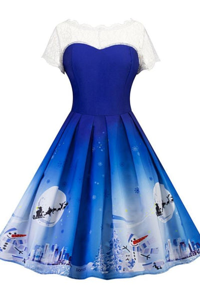 Audrey Hepburn Style Blue Cute Christmas Party Dresses White Lace Stitching Snowflake Snowman Printed Short Sleeves Midi-Christmas Fashions-Chicloth