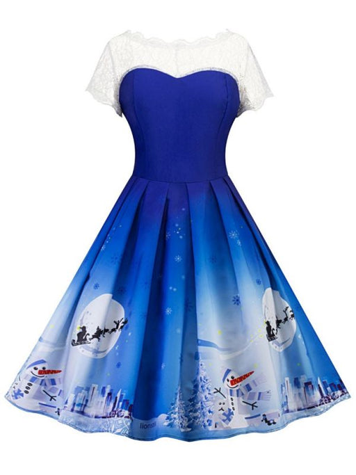 901441d72c3c Audrey Hepburn Style Blue Cute Christmas Party Dresses White Lace Stitching  Snowflake Snowman Printed Short Sleeves