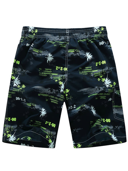 A| Chicloth Leaf Print Men's Beach Board Shorts Swim Trunks With Mesh Lining
