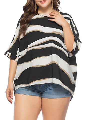 C| Chicloth Women Plus Size Loose Blouse Striped Half Sleeves O-Neck Elegant Top Pullover-plus size tops-Chicloth