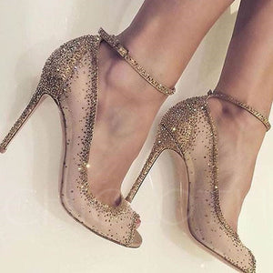 Chicloth Golden Dress Shoes Rhinestone Rivet High Heels-Chicloth