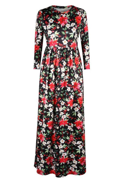 Black Christmas Party Dress Fashion Flowers Printed Long Sleeves High Waist Swing Maxi Dresses-Christmas Fashions-Chicloth
