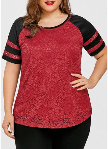Chicloth Women Plus Size Lace Basic T-Shirt Stripe Casual Tee Top-Plus Size Tops-Chicloth