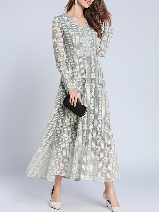 A-line Daytime Long Sleeve Elegant Guipure lace Lace Dresses-Lace Dresses-Chicloth