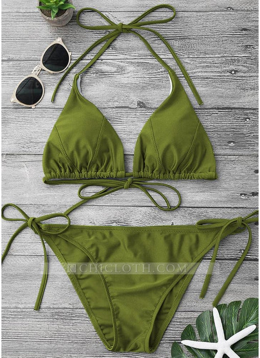 B| Chicloth Solid Color Halter Bandage Tie Bikini Set-nylon,polyester,bikinis-Chicloth