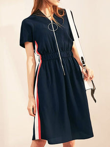 V neck Dark blue A-line Daytime Casual Short Sleeve Gathered  Midi Dress