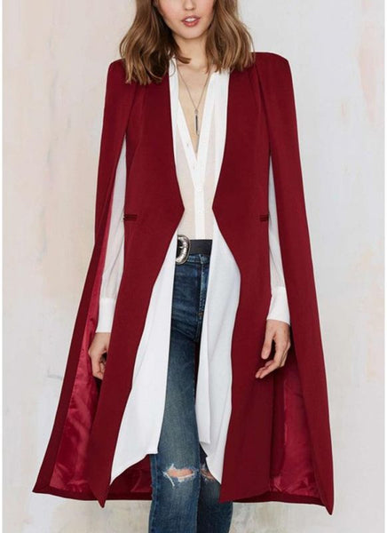 Autumn Women Long Cloak Blazer Coat Cape Cardigan Jacket Slim Office OL Suit Casual Solid Outerwear