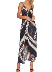 B| Chicloth Boho Geometric Print V Halter Spaghetti Strap Asymmetric Hem Women's Maxi Dress