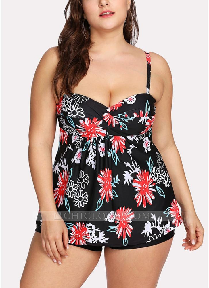 B| Chicloth Women Plus Size Swimsuits Floral Print Padded Modest Slimming Swimwear Bathing Suit-nylon,polyester,plussizeswimsuit-Chicloth