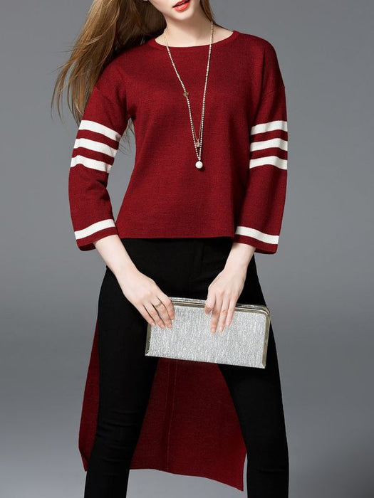 Casual 3/4 Sleeve Crew Sweaters-Sweaters-Chicloth