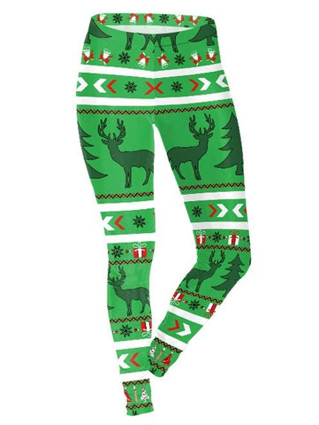 Green Tie-dye Elk Printed Christmas Leggings for Women