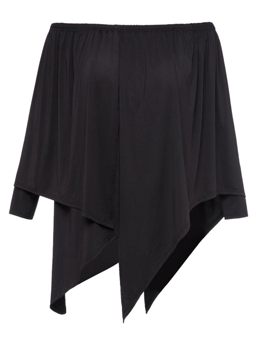 Chicloth Black Off the Shoulder Plus Size Blouse-Blouse-Chicloth