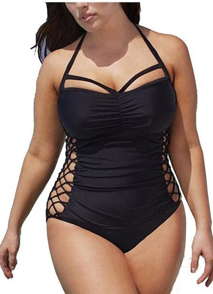 B| Chicloth Women One-Piece Swimwear Criss Cross Lace Padding Wireless Bathing Suit Swimsuits-nylon,polyester,plussizeswimsuit-Chicloth