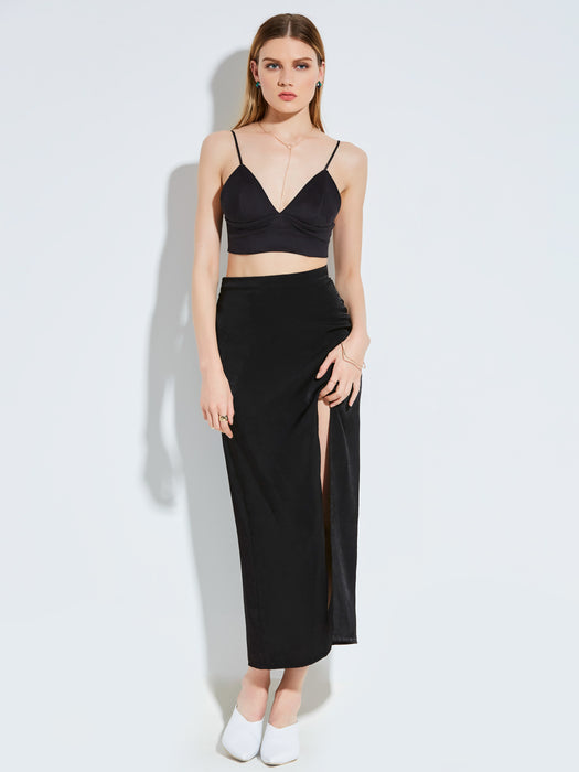 Chicloth Black High Waist Long Slit Skirt-Skirt-Chicloth
