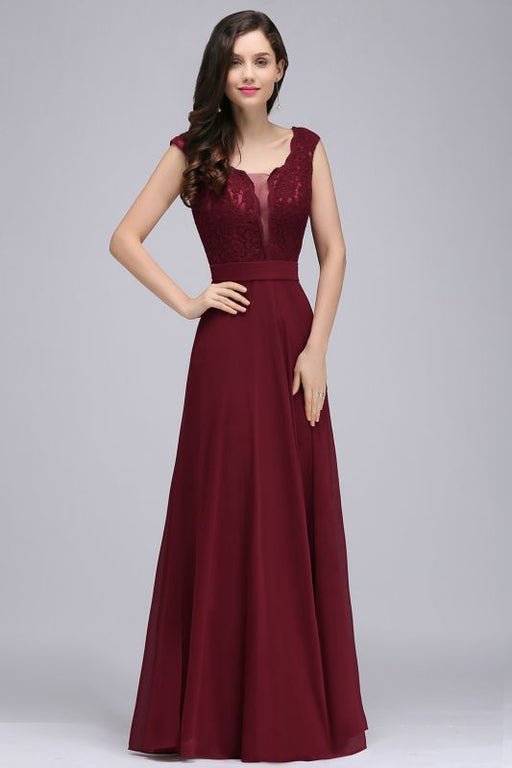 Chicloth Elegant A-line Chiffon Lace V-Neck Sleeveless Floor-Length Bridesmaid Dress-Bridesmaid Dresses-Chicloth