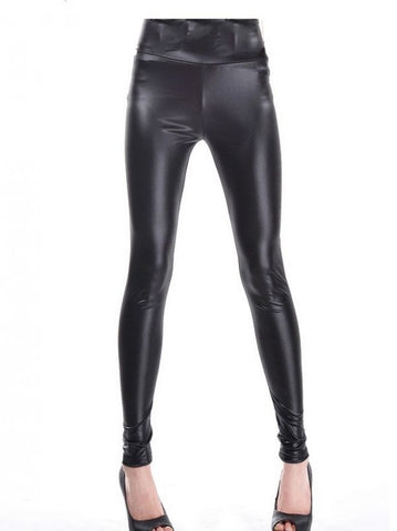 Fall and Winter Sexy Fashion High-Waisted Black Imitation Leather Cropped Leggings