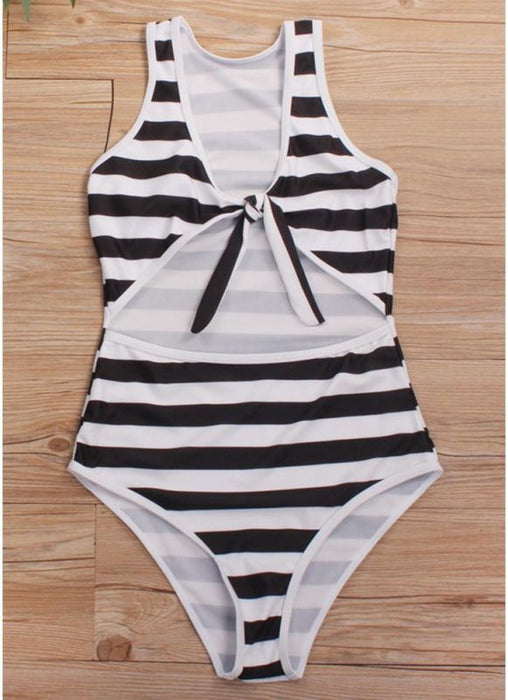 B| Chicloth Striped Tie Front Wireless Women One Piece Monokini-nylon,polyester,bikinis-Chicloth