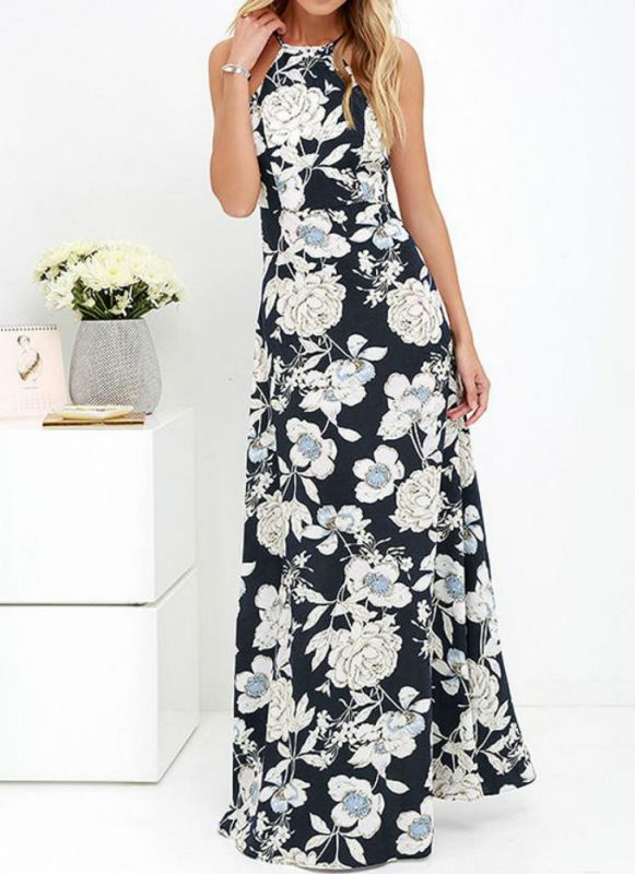 1c40fc2e7ad654 Summer Halter Neck Floral Print Sleeveless Womens Maxi Dress – Chicloth