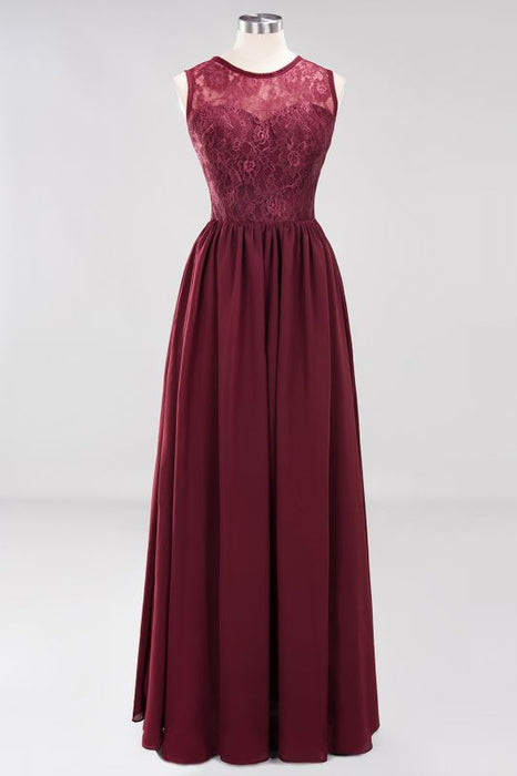 Chicloth A-line Chiffon Lace Jewel Sleeveless Ruffles Floor-Length Bridesmaid Dresses with Appliques-Bridesmaid Dresses-Chicloth