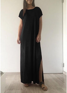 B| Chicloth Women Casual Long Dress Solid Split Short Sleeve Slit Maxi Tee Dress