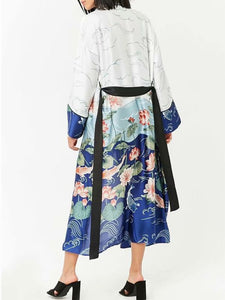 Blue Bow Casual Color-block Floral Printed Shift Coat
