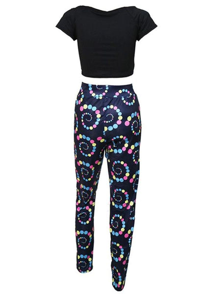 B| Chicloth Africa Printed Crop Top Tie Waist Crop Top + Pants Suits-bottoms-Chicloth