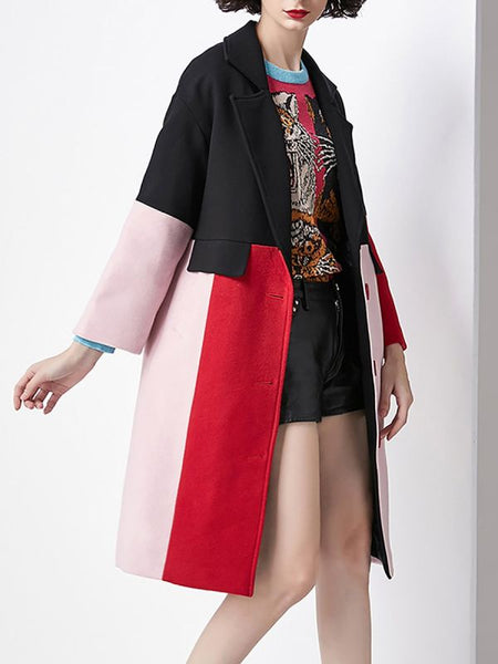 Black Work Buttoned Color-block Coats & Jackets-Coats & Jackets-Chicloth