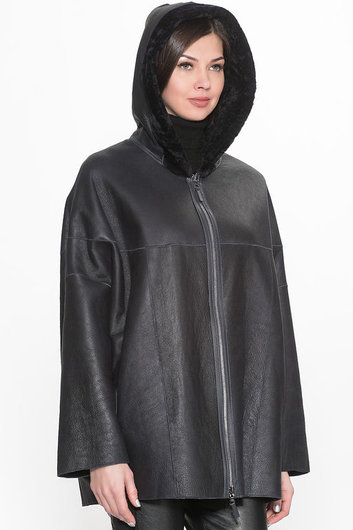 Chicloth Black Leather Zipper Hooded Jacket-jacket-Chicloth