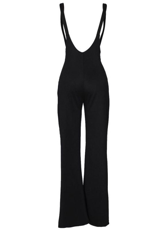 f861bea2e262 ... Chicloth Women Dungarees Overalls Bell-bottomed High Waist O-ring  Zipper Front Flared Casual