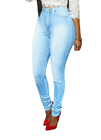 Denim Washed Zipper Pockets Casual Skinny Pencil Pants