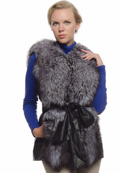 Chicloth Imitation Fur vest top Bow Tie Leather Jacket