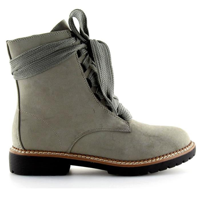 A| Chicloth Womens Daily Chunky Heel Lace-Up Combat Sneakers Boots-Boots-Chicloth