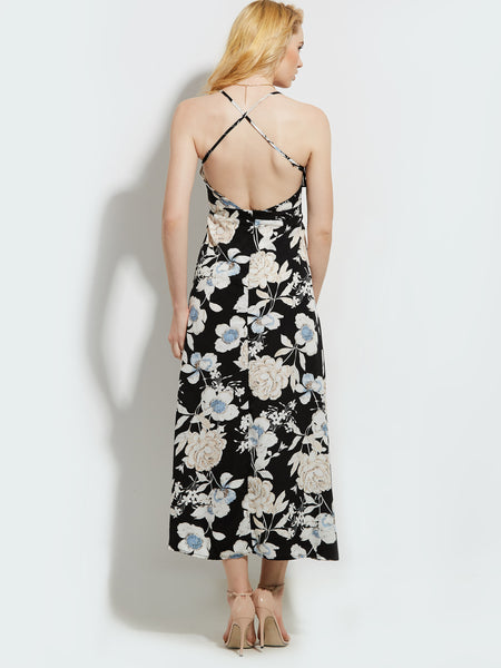 Vintacy Print Backless Women's Maxi Dress
